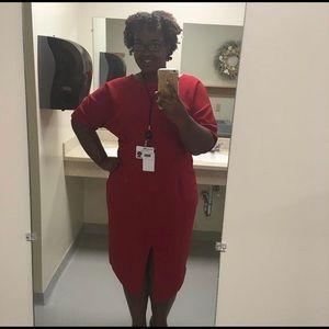 Red MIDI Pencil Dress
